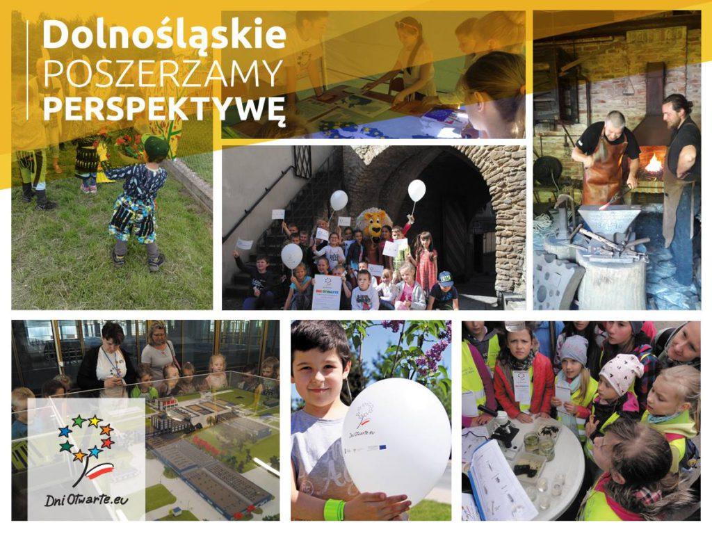 Kolaż zdjęć z wydarzeń związanych z projektami unijnymi